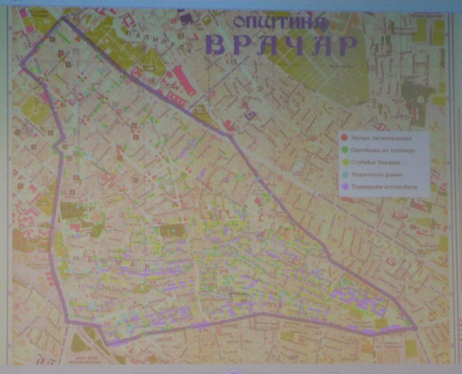 Мапа неприступачности Врачара – мапа са локацијама на којима постоје препреке за несметано кретање за особе са инвалидитетом
